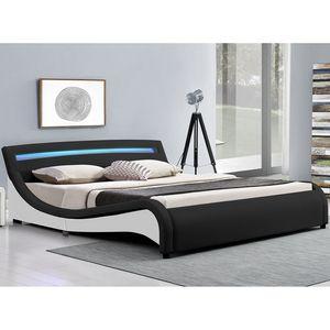 Juskys Polsterbett Malaga 140 x 200 cm – Bett mit Lattenrost & LED Beleuchtung im Kopfteil – Holz Bettgestell mit Kunstleder – Jugendbett schwarz