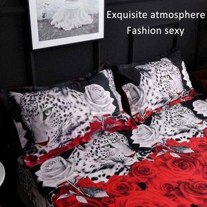 Bettwäsche Set 3D Leopard weiß und rot Rose Blumendruck 4 Stück Bettbezug Größe Quilt Set (Doppelbett)