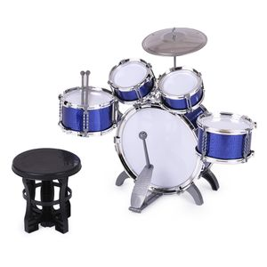 Kinder Drum Set Musikinstrument Spielzeug 5 Trommeln mit kleinen Beckenhocker Drumsticks für Jungen Mädchen (Blau)