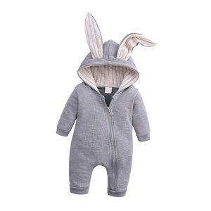 Baby Winter Reißverschluss Overall mit Kapuze Mädchen Jungen Schneeanzüge Warm Strampler Outfit Kleidung Farbe Grau (9-12 Monate)