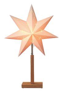 "Best Season Standleuchte Stern ""Karo Mini"" Material: Holz/Papier, Farbe beige, Höhe ca. 55 cm, 232-00"