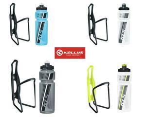 Kellys KLS Fahrrad Trinkflaschenhalter Set Caliber + Trinkflasche 0,7 Namib , Farbe:Namib-Transparent-Blue