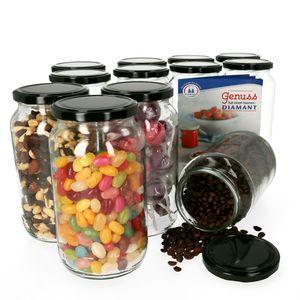 12er Set Einmachglas 1062 ml Deckel Schwarz Einkochgläser Vorratsglas Glasbehälter Aufbewahrung