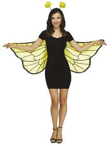 Bienenflügel für Erwachsene mit Fühler-Haarreif gelb-schwarz