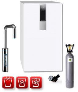 Einbau-Tafelwasseranlage BLACK & WHITE HOT DIAMOND (Option CO2 Eigentumsflasche: 6kg CO2 Flasche / Armatur: U-Auslauf / Farbe: weiß)