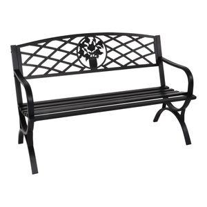 Gartenbank Bank Parkbank Oxford 3-Sitzer schwarz 127 cm 180kg Tragegewich