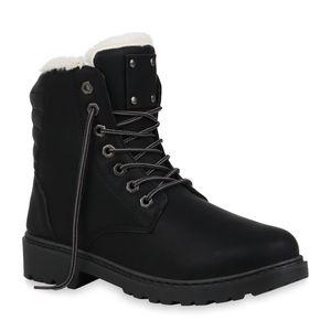 Mytrendshoe Damen Worker Boots Warm Gefütterte Winter Stiefeletten Schnürer 832472, Farbe: Schwarz, Größe: 38