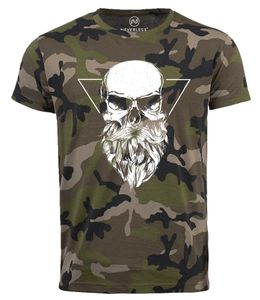 Neverless® Cooles Herren T-Shirt Totenkopf Bart Camouflage Camo-Shirt Tarnmuster camo L