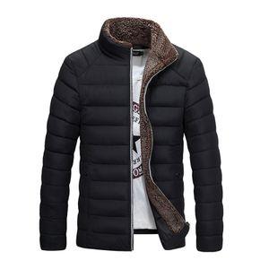 Herren Winter Warme Jacke Stehkragen Langarm Dicke Baumwolljacke,Farbe: Schwarz,Größe:L