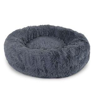 dibea Hundebett rund Hundekissen Hundesofa Katzenbett Donut dunkelgrau 100 cm Ø