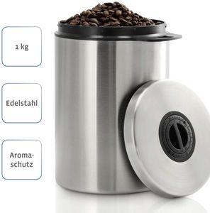 Kaffeedose luftdicht für 1kg Kaffeebohnen (Behälter für Kaffee, Tee, Kakao, Nudeln, Edelstahl Dose zur Aufbewahrung mit Aromaverschluss, Vorratsdose für 1000g Kaffee) silber