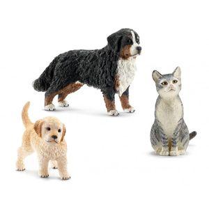 Schleich 13847 - FARM WORLD - 3er Tiere Set -Bernersennenhund, Golden Retriever und eine Katze