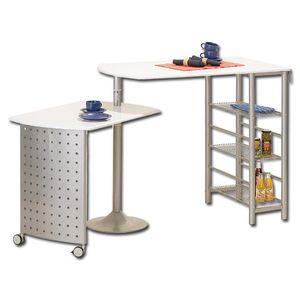 Küchenbar Küchentisch Esstisch ausziehbar Bistrotisch Filamento Metall weiß 3 Ablageflächen