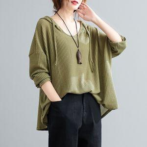 Frauen Hoodie Kordelzug Langarm Einfarbig Loose Hooded Sweater Strickpullover Casual Fruehling Herbst Plus Size