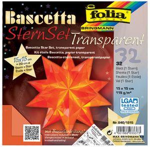folia Faltblätter Bascetta-Stern orange-transparent 115 g/qm 150 x 150 mm 32 Blatt