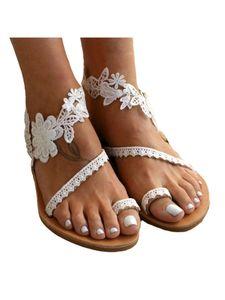 Abtel Damen Casual Sandalen Elegante Flache Sandalen Einfarbig Offene Zehen,Farbe:Weiß,Größe:38