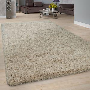 Shaggy Teppich Wohnzimmer Beige Creme Hochflor Soft Flauschig Einfarbig Robust, Grösse:120x170 cm