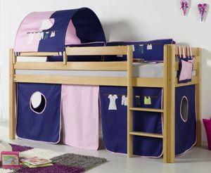Hochbett ALEX Kinderbett Spielbett Bett Natur Stoffset Kleider, Matratze:ohne