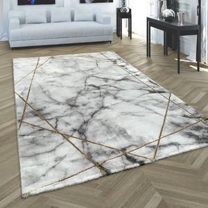 Teppich Wohnzimmer Kurzflor Modernes Abstraktes Muster Marmor Optik Grau Gold , Grösse:80x150 cm