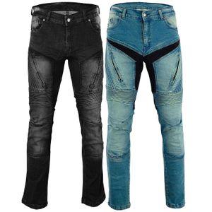 BULLDT Herren Motorradjeans Motorradhose Denim Jeans Hose mit Protektoren, Jeansgröße:W36 / L32, Farbe:Blau