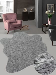 Kunstfell Teppich Fellteppich Shaggy grau anthrazit Größe - 120x160 cm