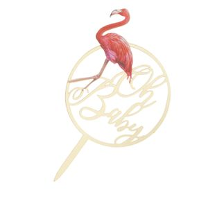 Flamingo Acryl Kuchen Topper Kinder Geburtstagsparty Baby Dusche Dekoration b 17 x 9,5 x 0,2 cm