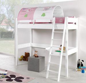 Hochbett RENATE Multifunktionsbett mit Schreibtisch Bett Weiß Stoffset Prinzessin