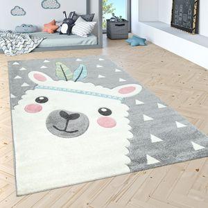 Kinderteppich Kinderzimmer Moderne Pastell Farben, Niedliche Motive, 3D Effekt, Grösse:140x200 cm, Farbe:Grau