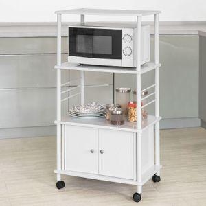 SoBuy Küchenwagen,Mikrowellenhalter Küchenschrank,mit 3 Ablagen und 2 Türen,FRG12-W
