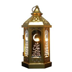 Eid Mubarak Laterne Dekoration, Vintage Ramadan Lichter Festival Laterne Mini Home Desktop Mond LED-Licht, haengende Laternen muslimische Partei Eid Nachtlicht Urlaub Dekoration
