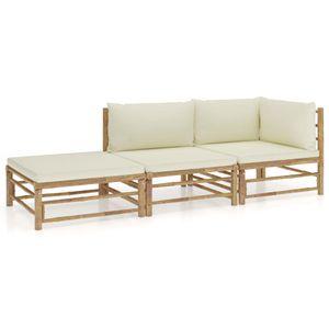 vidaXL 3-tlg. Garten-Lounge-Set mit Cremeweißen Kissen Bambus
