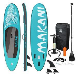 ECD Germany Aufblasbares Stand Up Paddle Board Makani   320 x 82 x 15 cm   Türkis   aus PVC   bis 150 kg   Pumpe Tragetasche Zubehör   SUP Board Paddling Board Paddelboard Surfboard   verschiedene Farben