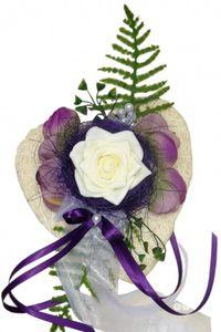 Tischdekoration lila zur Hochzeit Verlobung Kommunion Tischdeko Sisalherz TD0016