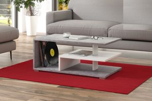 Design Couchtisch Tisch Link Beton Betonoptik / Weiß matt Wohnzimmertisch 90x50x40cm mit Ablagefläche