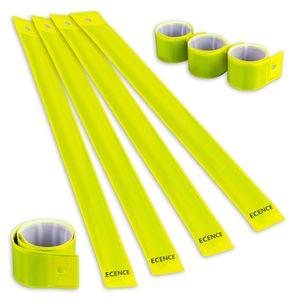 ECENCE 8x Schnapparmband Reflektorband Sicherheitsband Klatscharmband reflektierend Neon für Kinder
