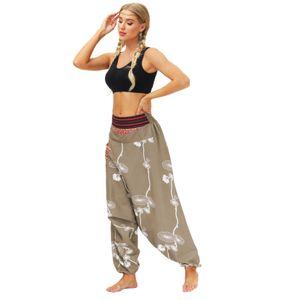 Frauen Casual Loose Yoga Hose Baggy Boho Casual Jumpsuit Haremshose Größe:L,Farbe:Ocker
