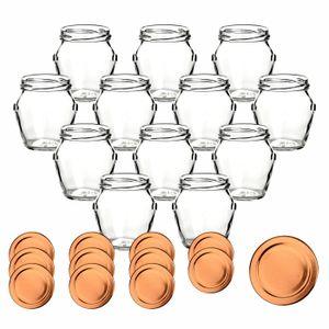 12 / 24 Stück gouveo 212 ml Einmachgläser Henkel incl. Deckel und Flaschendiscount-Rezeptbroschüre, Deckelfarbe:Bronze, Setgröße:24er Set