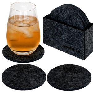 8 Edle Filz-Untersetzer Ø 10cm Runde Filz-Bierdeckel Glas-Untersetzer Set + Box