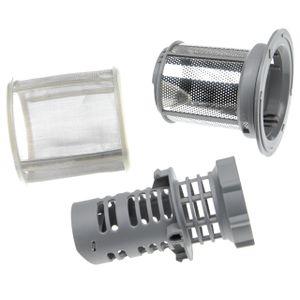 vhbw Feinsieb- / Schmutzsieb-Set (3-teilig) Ersatz für Bosch / Siemens 10002494 für Geschirrspüler - Spülmaschinensieb, 9cm, silber / grau