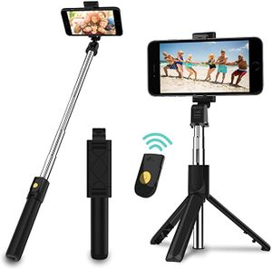 Selfie Stick Stativ, 3 in 1 Mini Selfiestick mit Bluetooth-Fernauslöse Handy Erweiterbarer Selfie-Stange und Tragbar Monopod Handyhalter für iPhone/Samsung/Huawei IOS und Android