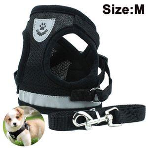 Hundegeschirr und Leinen Set für Hunde, Weich Mesh Gepolstert Geschirr für Welpen und Katzen, Reflektierende Verstellbare Atmungsaktive Brustgeschirr für Gehen, Laufen, Training (Schwarz  M)