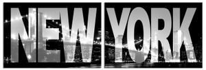 New York Poster Leinwandbild Auf Keilrahmen - New York, Skyline Bei Nacht, 2-Teilig (80 x 240 cm)