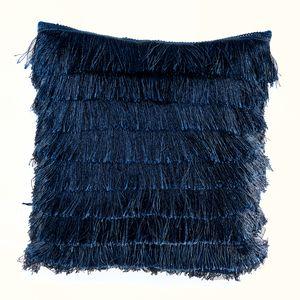 Extravagantes Samtkissen 40x40cm dunkelblau Kissen mit Fransen Samt Zierkissen Dekokissen Wohnaccessoire Accessoire