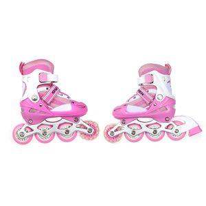 JEOBEST Kinder Schlittschuhe Rollschuhe Inlineskates -Verstellbare S(31-34 )| Rosa