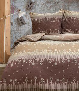 Bettwäsche Thermofleece 200x200 cm + 80x80 cm beige braun Schneeflocken Streifen Kuschel mit Reißverschluss, 3-tlg