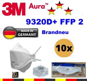 10er: 3M™ Aura™  Atemschutzmaske  9320D+ (GER) FFP2 ohne Ventil I CE2797 I Deutsche Edition