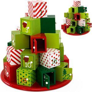 Adventskalender X-Mas zum Befüllen DIY Kalender Holz Weihnachtsdeko Kinder, Model:Adventskalender Rund