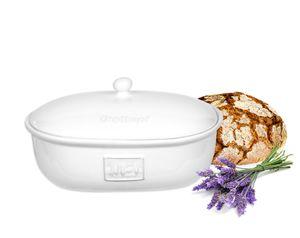 Brottopf Toskana Weiß Brotkasten Oval mit Belüftung aus Steingut Brotkorb 36,5 x 25,5 x 19 cm