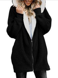 Damen Reißverschluss Fleecejacke lässig weiß warm Jacke,Farbe: Schwarz,Größe:XL