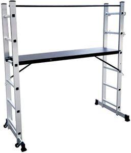 NAIZY Alu Gerüst Arbeitsgerüst Baugerüst - 3 in 1 - Multigerüst Leiter Klappleiter Belastbarkeit bis 150 kg mit 2x 6 Sprossen und 1.47m Arbeitsplattform 2x Rad
